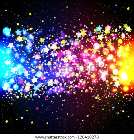 Bright Colorful Flying Stars On A Fantastic Design