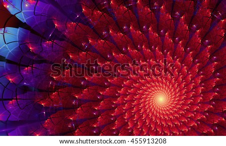 Bright colorful fractal flower, digital artwork for creative graphic design