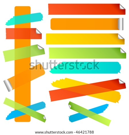 Bright colorful labels or strips. Torn and curled edge variations included. A vector version of this image is also available in my portfolio.