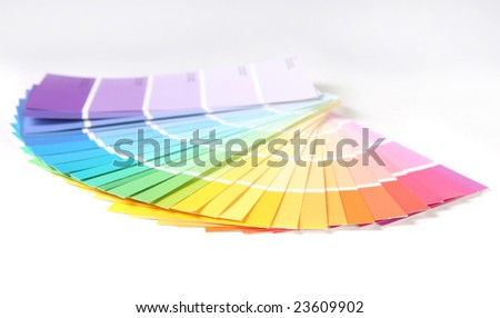Bright Colorful Paint Swatch Samples for Remodeling a Home or Office on White Background. Shallow Depth of Field.