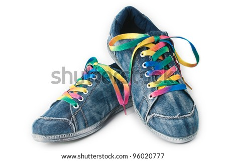 Bright colorful sneakers isolated on white background