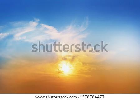 Bright colorful sunset. Beautiful evening idyllic scenic cloudy twilight sky. Tranquil nature landscape #1378784477