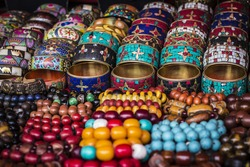 Bright colorful Tibetan traditional bracelets for sale on the market in Leh, Ladakh, India