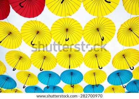 bright colorful umbrellas  background
