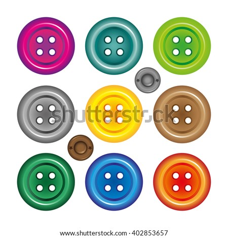 Bright colors buttons on white background.  #402853657