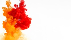 Bright colors explosion, fire. Red, orange and yellow smoke on white background, panorama with copy space