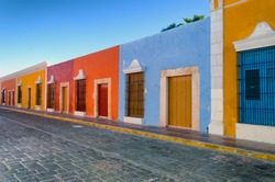 Bright colors in colonial houses in downtown Campeche, Mexico.