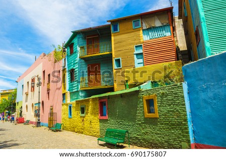 Bright colors of Caminito, the colorful street museum in La Boca neighborhood of Buenos Aires, Argentina - South America #690175807