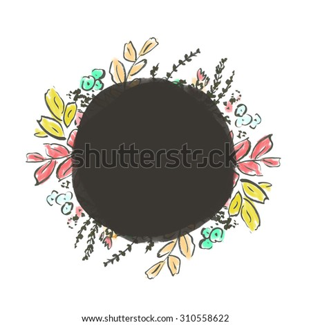 Bright Colors Round Flower Frame. Round Watercolor Frame. Painted Frame.