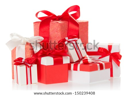 Bright colourful boxes with the gifts, decorated with ribbons and the bows, isolated on white