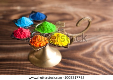 Bright colours for Indian holi festival. Colorful gulal (powder colors) for Happy Holi. #1008317782