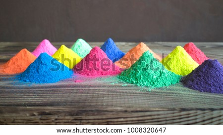 Bright colours for Indian holi festival. Colorful gulal (powder colors) for Happy Holi with copy space. #1008320647