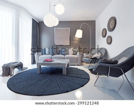 Bright contemporary living room trend. Design ideas for a mid-sized formal lounge with white and brown walls. 3D render