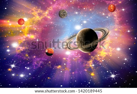 Bright cosmic background, universe, stars and star systems, planets