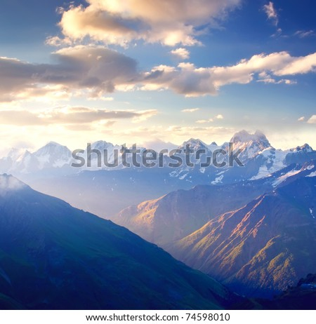 Bright dawning in mountain. Composition of the nature