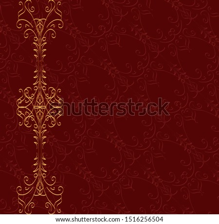 Bright decor for background. Decor in retro style. Red and gold abstract pattern