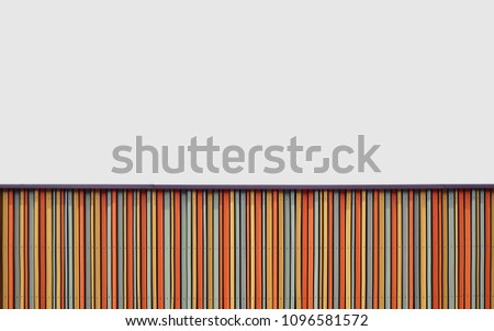 Bright design background from striped stripes stripes red, green yellow and white color, on top white space for text. #1096581572