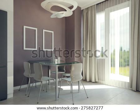 Bright dining room interior. 3d render #275827277
