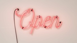 Bright electric neon red sign saying the word Open on a white background, indicating a store, shop, pub or restaurant is now open for business sign.