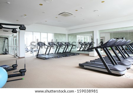 bright european gym with a lot of windows