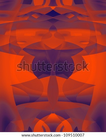 Bright eye-catching geometric digital image with curves and complementary colors.