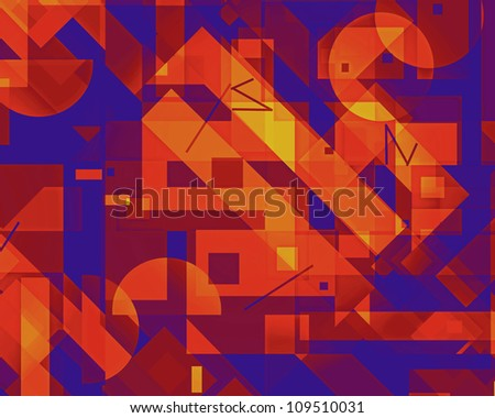 Bright eye-catching geometric digital image with rectangles and complementary colors. - stock photo
