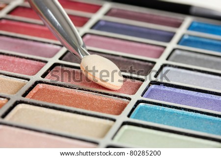 bright eye shadow and brush