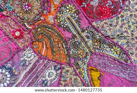 Bright fabric. Indian fabric with ornament. Fabric background. #1480127735