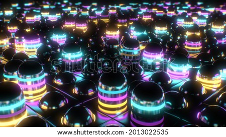 Bright Fast Flashing Flickering Neon Abstract Grid Tube Array Pistons 3D Rendering - Abstract Background Texture Foto stock ©
