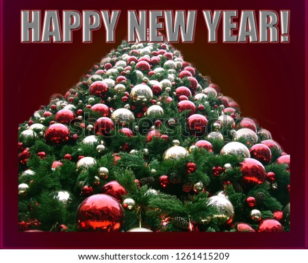 """Bright festive picture with a triangle of green Christmas tree in red and white mirror balls on a red background. The inscription """"Happy New Year!"""""""