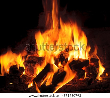 bright flame and fire from burning woods #571980793