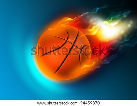 bright flamy symbol on the blue background - stock photo
