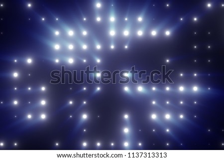 Bright flash of LED lights with rays of light 3d illustration stock photo