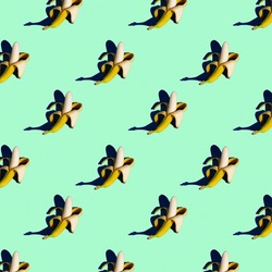 bright flat seamless pattern of peeled bananas on a green background