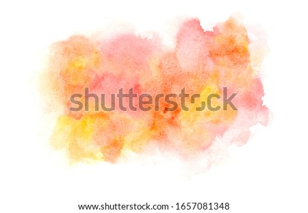 Bright fresh expressive red, pink and orange wet watercolor blob, wash technique. Light colors summer fruits juice concept illustration, abstract watercolour stain for decoration, background