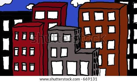 Bright fun illustration of a city skyline.
