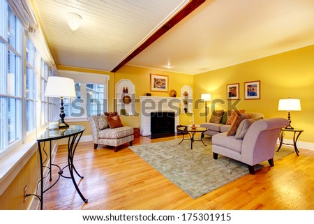 Bright furnished living room with designed ceiling and yellow wall
