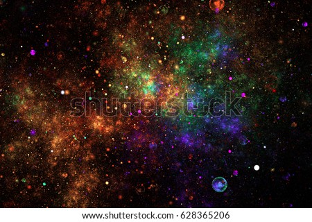 Stock Photo Bright galaxy. Abstract blue, green and orange sparkles on black background. Fantasy fractal texture. Digital art. 3D rendering.
