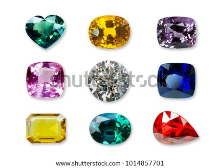 Bright gems isolated on a white background #1014857701