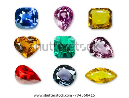 Bright gems isolated on a white background #794568415