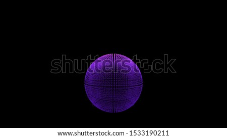 Bright globe formed by flying space dust isolated over black background. Animation. Animation. Vibrant fiery particles rotating and forming a sphere.