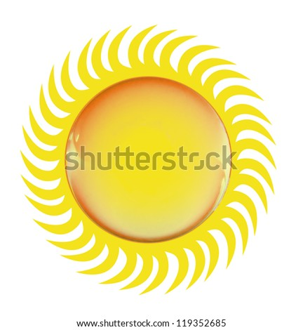 Bright glossy sun symbol, isolated on white