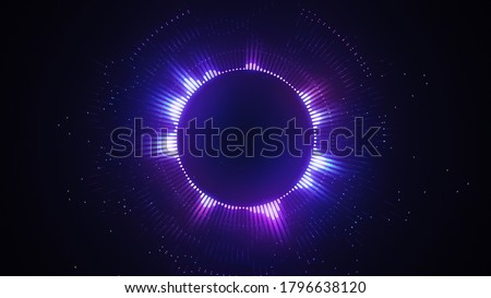 Bright glowing radial or circular equalizer illustration. Visualization of voice, music playback. Audio waveform with flowing dotts. Technological background in Neon purple colors