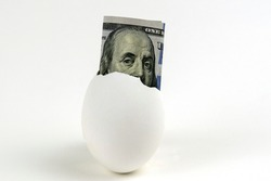 Bright golden egg in nest on US dollar bill cash banknotes background. Rich, wealth, successful from stock dividend in stock market investment. Business, financial and investment