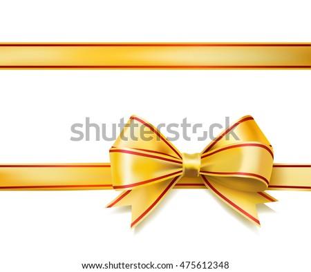 bright golden ribbon bow on white. raster