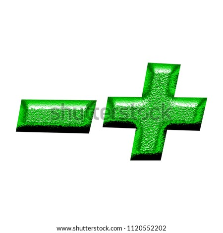Bright green chiseled metal plus and minus signs math symbols in a 3D illustration with a shiny metallic rough textured surface and vivid green color in a basic bold font on white with clipping path