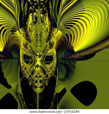 Bright green demon mask on black background. Computer-generated image
