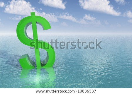 Bright green dollar sign begins to sink into the water. Calm blue sea or ocean with pretty blue sky. - stock photo