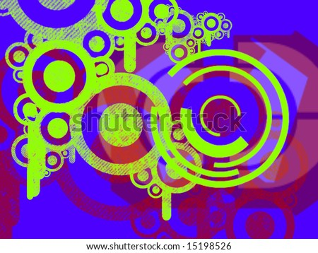 Bright Green Environmental Machine Parts Over Blue and Red Abstract background Illustration