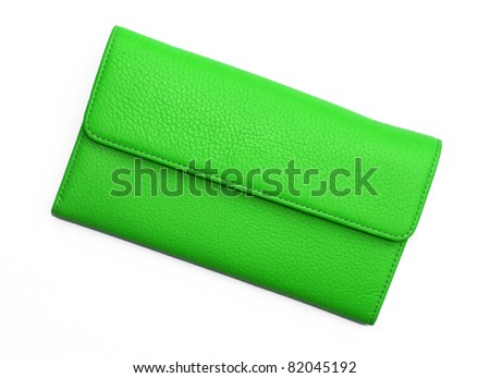 Bright Green Leather Wallet isolated on white background
